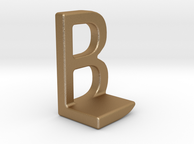 Two way letter pendant - BL LB in Matte Gold Steel