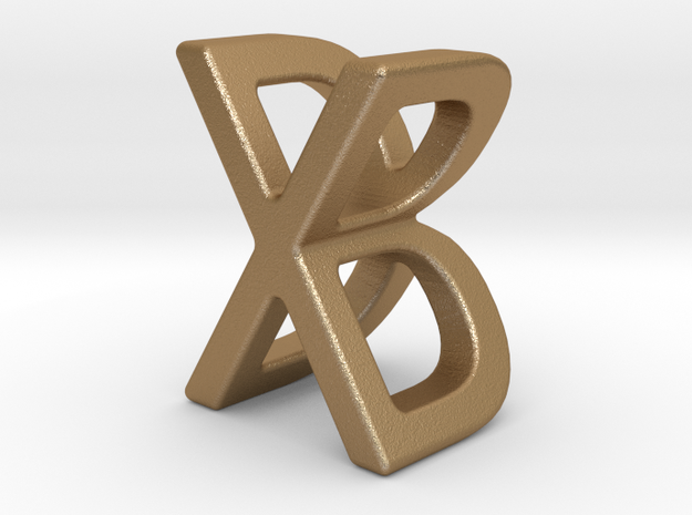 Two way letter pendant - BX XB in Matte Gold Steel