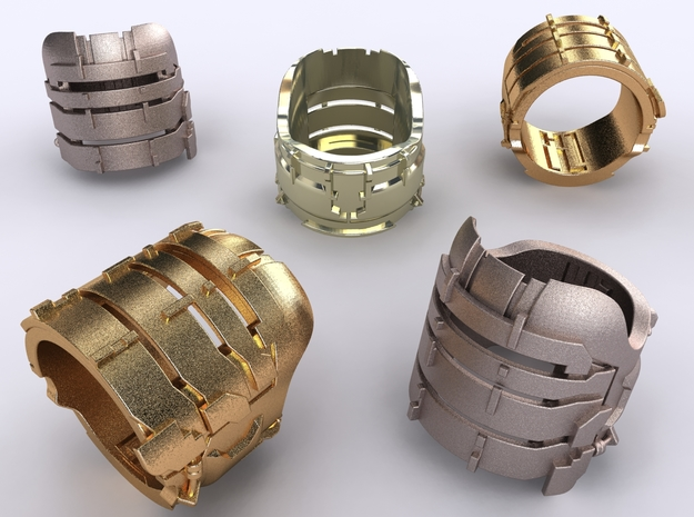 Dead Space Engineering Suit lvl3 ring 3d printed Stainless Steel, Gold Plated Matte & Premium Silver renders