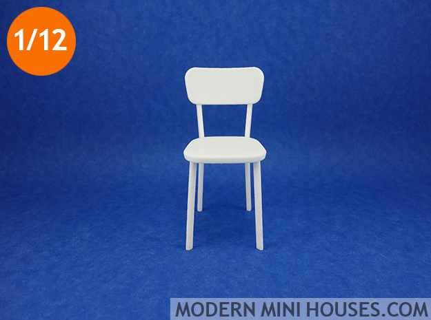 Deja-vu Chair 1:12 scale modern designer chair in White Strong & Flexible Polished