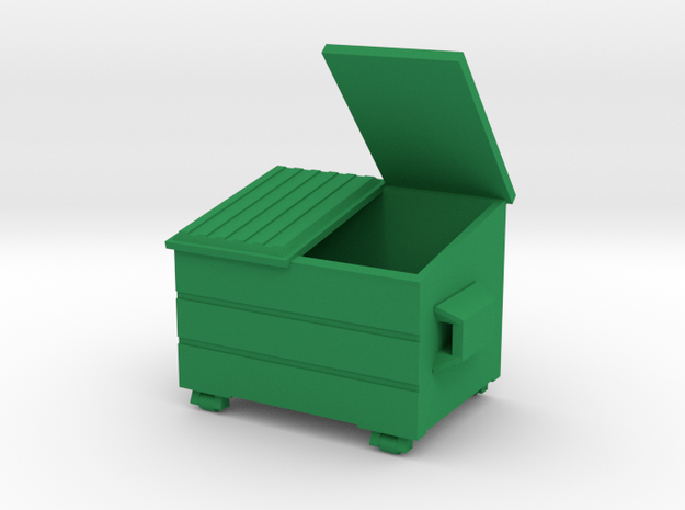 Dumpster Open Lid 'O' 48:1 Scale in Green Processed Versatile Plastic