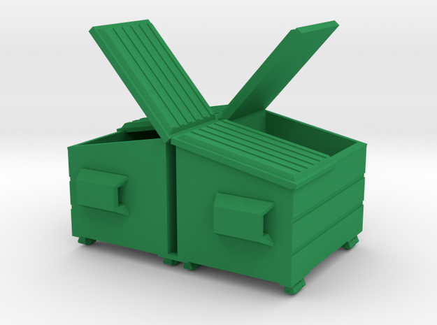 Dumpster Open Lid 'O' 48:1 Scale (2) in Green Processed Versatile Plastic