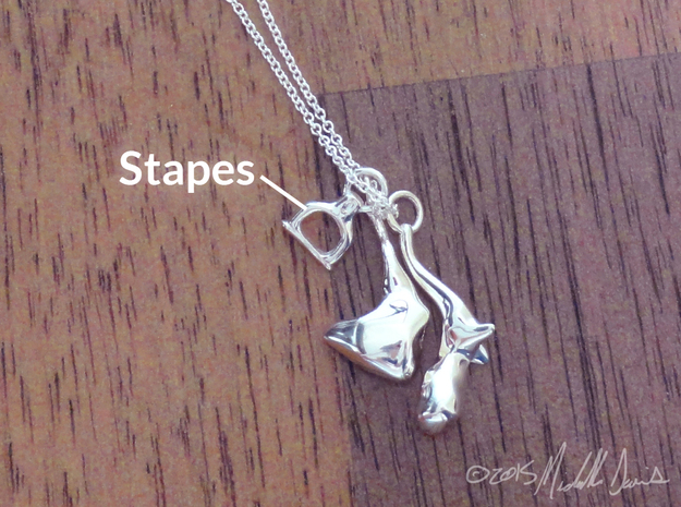 Ossicle Pendant - Stapes (right sided) in Polished Silver