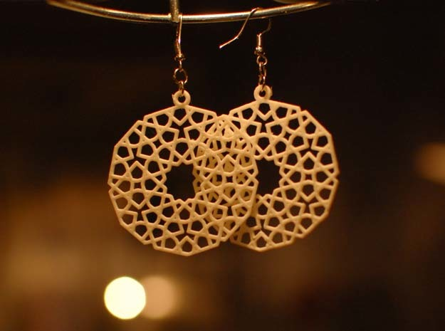 Earrings with mosaics in White Natural Versatile Plastic