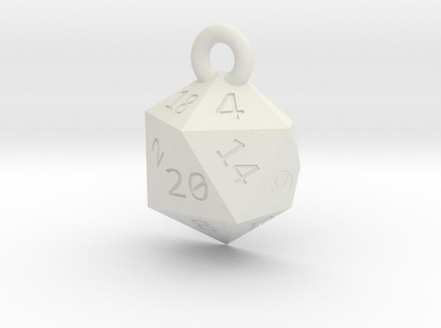Cut D20 Keychain in White Natural Versatile Plastic
