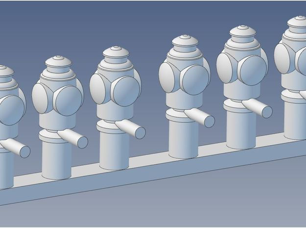 O Scale Marker Lamps X 6 in Frosted Ultra Detail