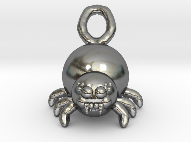 Cute Spider in Polished Silver