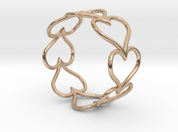 Size 7 Love Heart D in 14k Rose Gold Plated Brass
