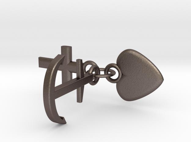 Schlüsselanhänger Glaube Liebe Hoffnung in Polished Bronzed Silver Steel