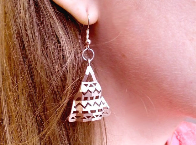 Aztec Earrings 3d printed Raw Silver