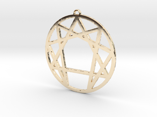 Enneagram Pendant Large (2 inches) in 14K Yellow Gold