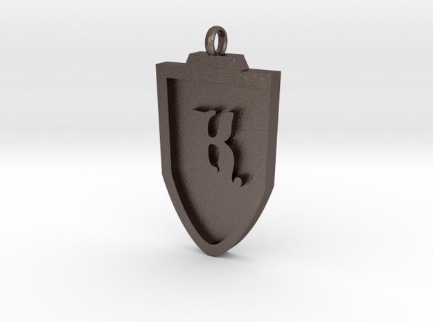 Medieval K Shield Pendant in Stainless Steel