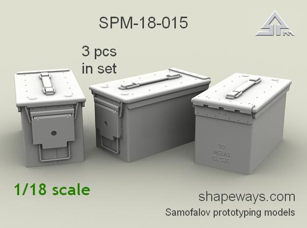 1/18 SPM-18-015 cal.50 ammobox in Smoothest Fine Detail Plastic