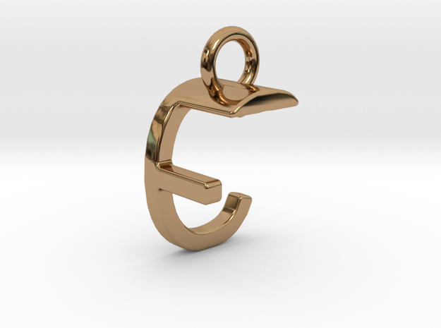 Two way letter pendant - CF FC in Polished Brass