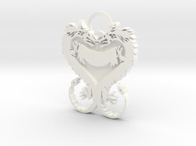 Dragonheart Keychain in White Processed Versatile Plastic