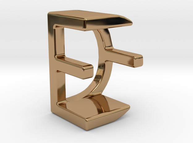 Two way letter pendant - DE ED in Polished Brass