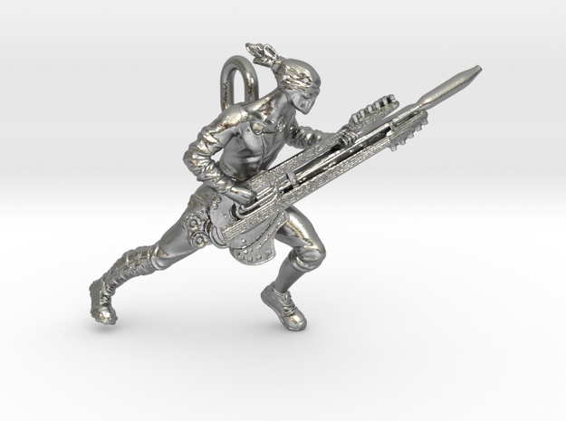 Coma Doof Warrior pendant in Natural Silver