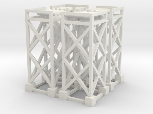 N Pipe Rack Corner 90° 28mm (4pc) in White Natural Versatile Plastic