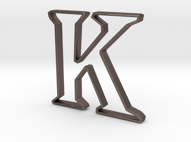 Typography Pendant K in Polished Bronzed Silver Steel