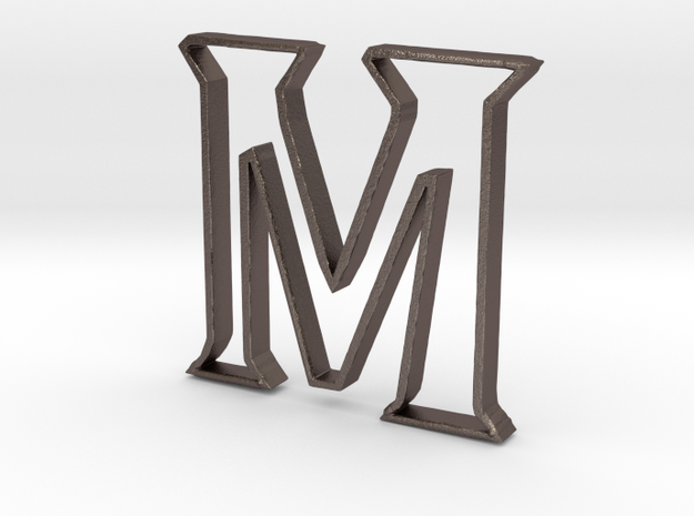 Typography Pendant M in Polished Bronzed Silver Steel