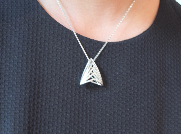 Silk Hand 99 Twins, Pendant  in Polished Silver