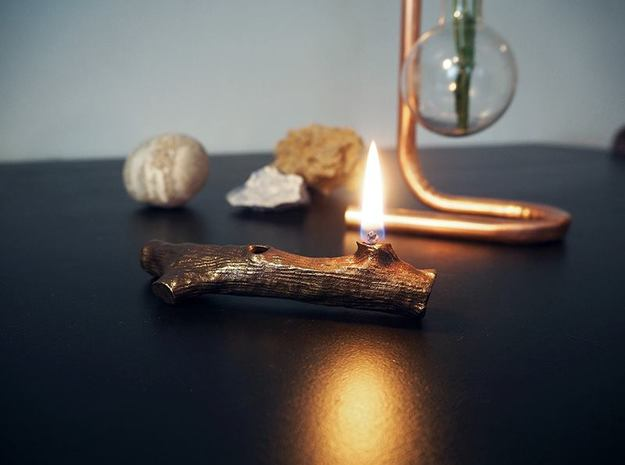The burning twig in Polished Bronze Steel