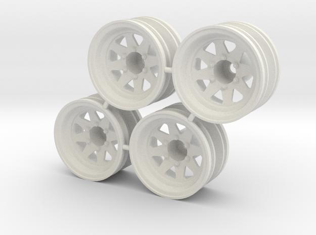 "Rim Wagon Wheel 1/4"" offset - Losi McRC/Trekker in White Strong & Flexible"
