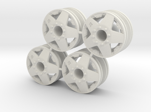 Rim Rockstar 4x4 Front Set - Losi McRC/Trekker in White Strong & Flexible