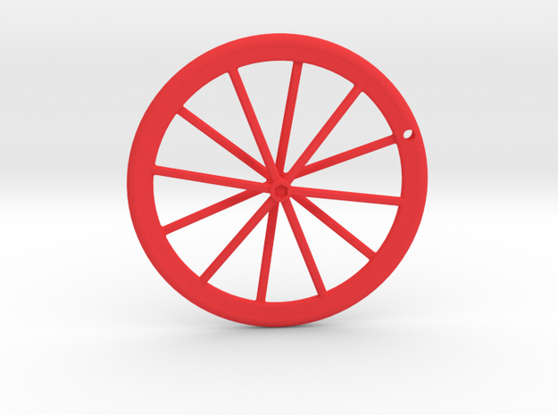 Wheel Pendant V2 in Red Processed Versatile Plastic