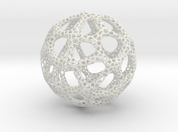 Voronoi Sphere 200mm in White Natural Versatile Plastic