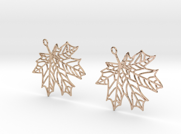 Maple Leaf Earrings-open in 14k Rose Gold Plated