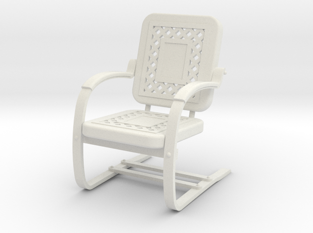 Miniature Metal Lawn Chair 1-12 not full size in White Natural Versatile Plastic