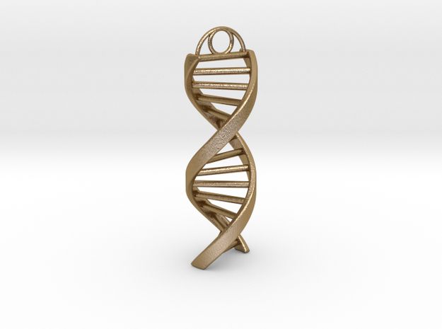 DNA Keychain in Polished Gold Steel