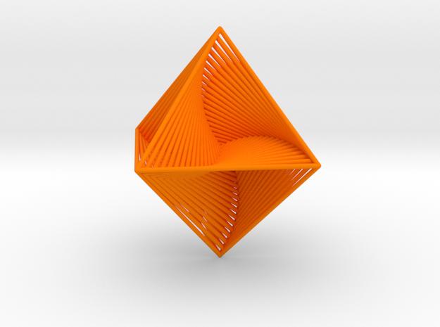 0047 Octahedron Line Design (4.6 cm) #001 in Orange Processed Versatile Plastic