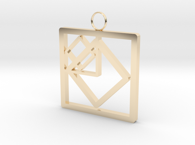 Squares in Square in 14k Gold Plated Brass