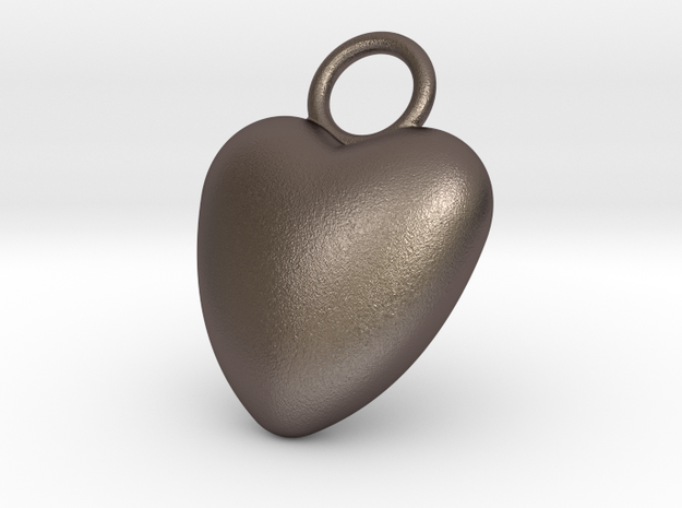Heart Bottle Opener in Polished Bronzed Silver Steel