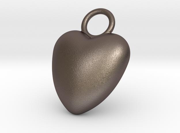 Heart Bottle Opener in Polished Bronzed Silver Steel