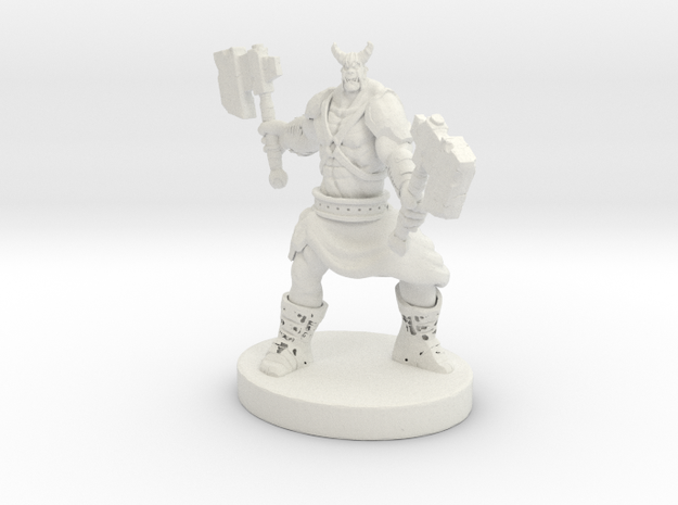 Orc Warrior Figurine in White Natural Versatile Plastic