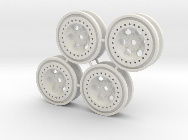 Bead-lock Stock offset 7mm hex - Losi McRC/Trekker in White Strong & Flexible