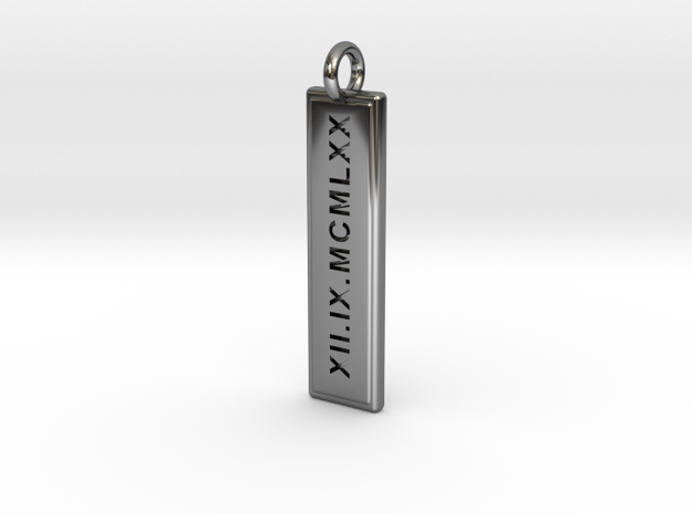 The Date Pendant in Fine Detail Polished Silver