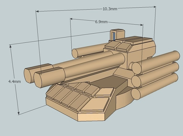 6mm Sci-Fi IFV Turret (BMPT-style) (12pcs) in Smooth Fine Detail Plastic