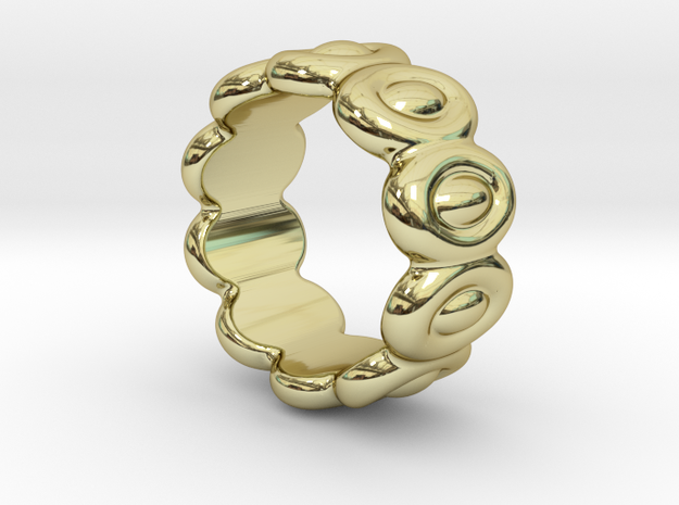 Elliptic Ring 18 - Italian Size 18 in 18k Gold Plated Brass