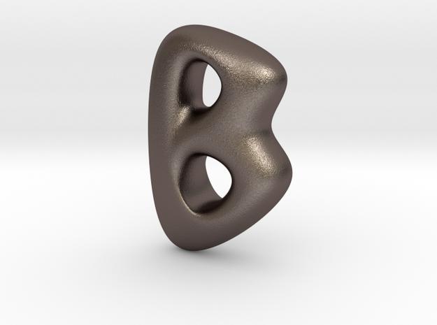 RUNE- B in Polished Bronzed Silver Steel