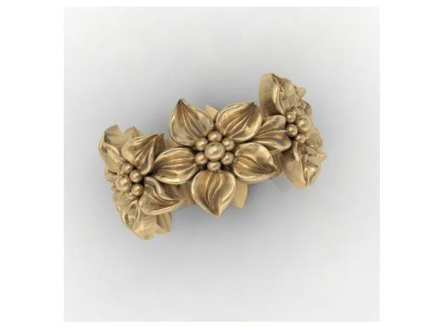 Flower Band Size 9 in Polished Silver