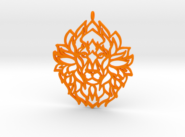 Lion Pendant in Orange Strong & Flexible Polished