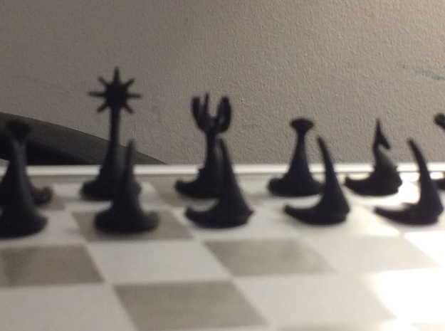 Miniature Minimalist Alien Chess Set in Black Natural Versatile Plastic