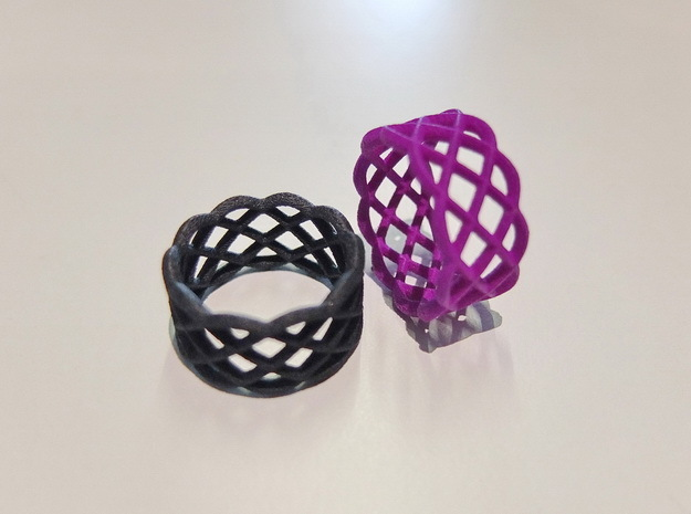 Five Curved Ring in Blue Processed Versatile Plastic