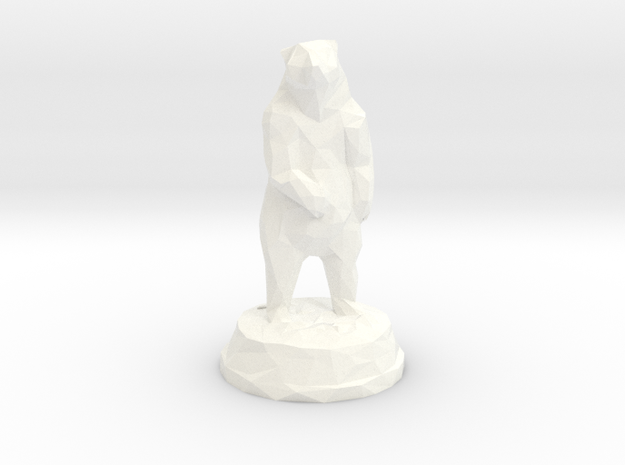 Standing Bear with Mount in White Strong & Flexible Polished
