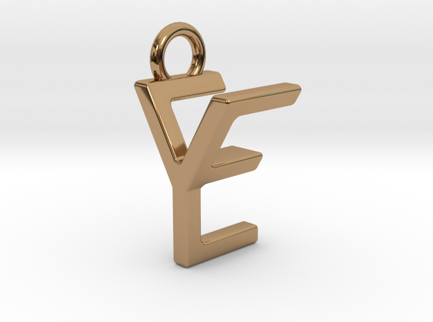 Two way letter pendant - EY YE in Polished Brass