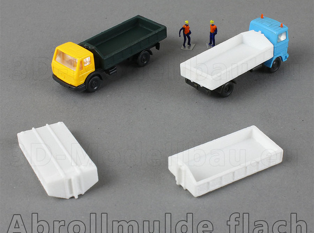 1/160 Spur N scale Abrollbehälter flach 10er in White Natural Versatile Plastic